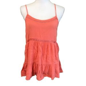 Paper Crane Coral Scoop Embroidered Tank Top